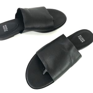 New Eileen Fisher Black Leather Slide Sandals
